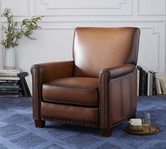 Pottery Barn Irving Roll Arm Leather Recliner with Nailheads