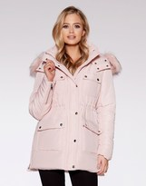 Quiz Padded Faux Fur Collar Parka Jacket