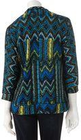 Sag Harbor printed embellished mock-layer cardigan - women's