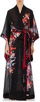 Carine Gilson Women's Floral Silk Long Kimono-BLACK