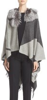 Fendi Women's Cashmere & Wool Cape With Genuine Fox Fur Collar