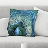 """Teal Luxury Gem Stone Agate Marble Throw Pillow East Urban Home Size: 14"""" x 14"""""""