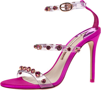 Sophia Webster Fuchsia PVC and Satin Ankle Strap Sandals Size 37