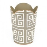 The Well Appointed House Grey Greek Key Tulip Wastebasket