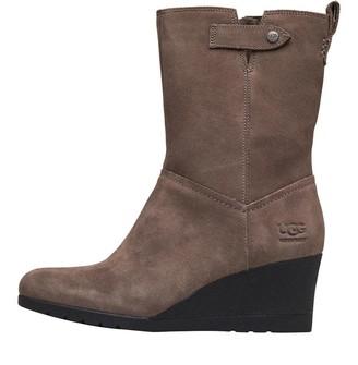 UGG Womens Potrero Waterproof Suede Wedge Boots Mole