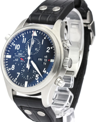 IWC Stainless Steel Pilot Watch Double Chronograph IW377801 Men's Wristwatch 46 MM