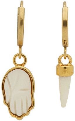 Isabel Marant Gold and White Hand Earrings
