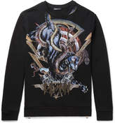 Balmain Printed Embroidered Fleece-Back Cotton-Jersey Sweatshirt
