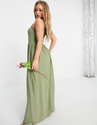 TFNC Bridesmaid high neck pleated maxi dress in dusky green