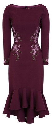 Dorothy Perkins Womens Chi Chi London Burgundy Embroidered Bodycon Dress
