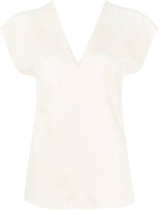 The Row V-back shortsleeved blouse