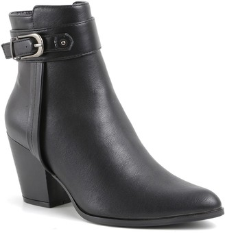 Catherine Malandrino Snack Vegan Leather Stack Heel Pointy Toe Bootie