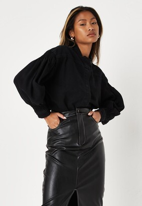 Missguided Black Grandad Collar Denim Shirt