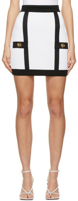 Balmain White and Black Knit Miniskirt