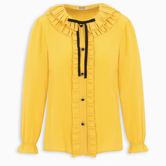 Miu Miu Yellow ruffle blouse