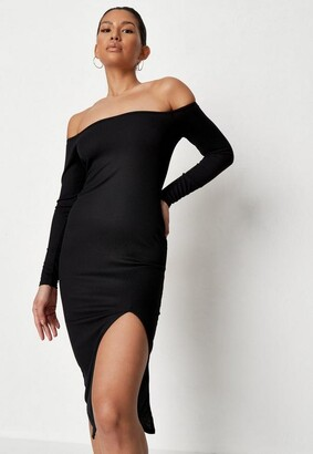 Missguided Recycled Black Rib Bardot Midi Dress