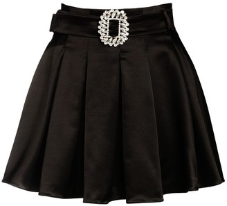 Giuseppe di Morabito Pleated Wool Blend Satin Mini Skirt