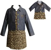 Dollie & Me Girls 4-14 Denim Jacket & Leopard Dress Set