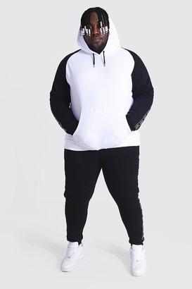 boohoo Mens White Big & Tall Colour Block Tape Tracksuit, White