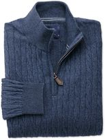 Charles Tyrwhitt Indigo Cotton Cashmere Cable Zip Neck Cotton/cashmere Sweater Size Large