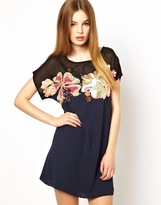 French Connection French Connection;;NOTGOOGLE;; Aloha Spring Shift Dress with Embellishment - Blue