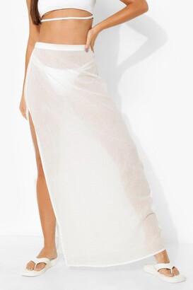 boohoo Tall Linen Split Side Maxi Skirt