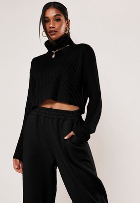 Missguided Tall Black Turtle Neck Cropped Knit Sweater