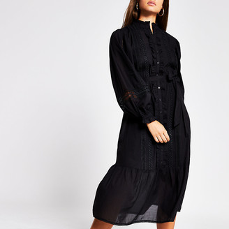 River Island Black long sleeve lace insert midi dress