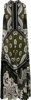 Valentino Cape-back Floral-print Silk Crepe De Chine Midi Dress