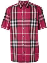 Burberry checked shortsleeved shirt - men - Cotton/Polyamide/Spandex/Elastane - L