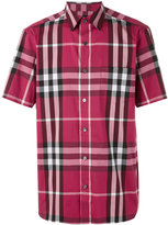 Burberry checked shortsleeved shirt - men - Cotton/Polyamide/Spandex/Elastane - M