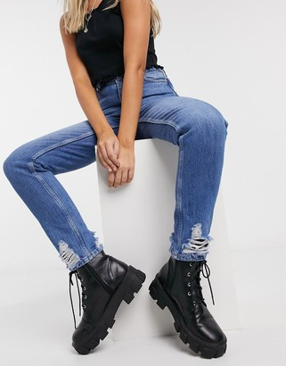 Topshop mom jeans in mid blue wash
