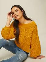 Miss Selfridge Ochre pointelle bardot knitted jumper