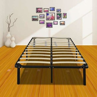 "Alwyn Home Fitzgerald 14"" Wooden Slat and Iron Stand Bed Frame Size: Queen"