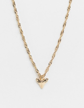 Topshop necklace in gold with shark tooth pendant