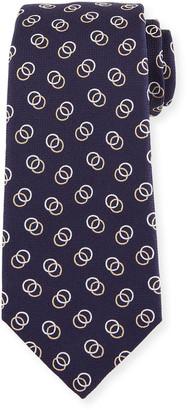 Isaia Interlocking Circles Silk Tie