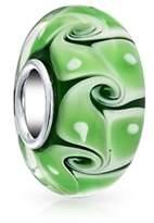 Bling Jewelry Green Swirl White Dot Murano Glass Lampwork Charm Bead .925 Sterling Silver.