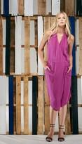 Tibi Silk Halter Draped Dress