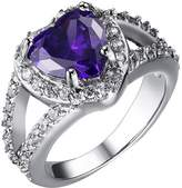 JAJAFOOK Women's Stainless Steel Engagement Ring Purple Heart Cubic Zirconia Crystal Engagement Ring Wedding Band, 7