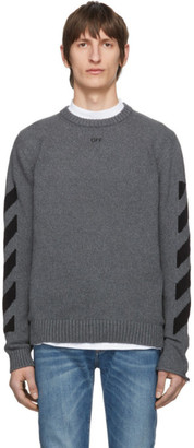 Off-White Grey Melange Arrows Sweater