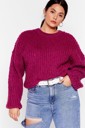 Nasty Gal Womens Knit Back and Wait Plus Balloon Sleeve Jumper - Pink - 16-18
