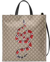 Gucci Snake print soft GG Supreme tote