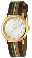 Pedre Women's 0231GX Gold-Tone with Brown Stripe Grosgrain Strap Watch