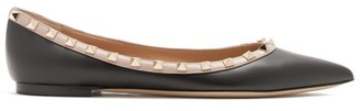 Valentino Rockstud Point-toe Leather Ballet Flats - Black Nude