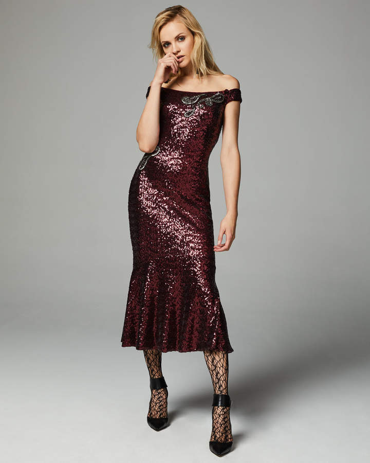 Theia Off-the-Shoulder Fitted Sequin Cocktail Dress