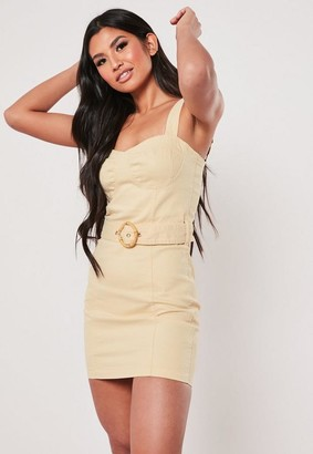 Missguided Yellow Faux Bamboo Belted Denim Mini Dress