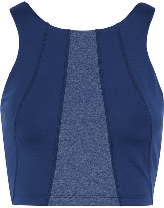 Iris & Ink Cropped Paneled Cutout Stretch Top