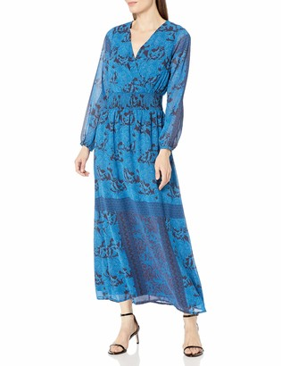 James & Erin Women's Peasant Sleeve Deep Vneck Maxi Dress