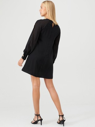 River Island Sheer Sleeve Swing Dress - Black