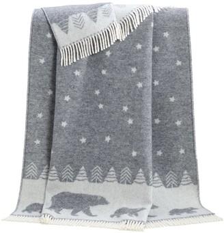 J.J.Textile Polar Bear With Stars Wool Throw